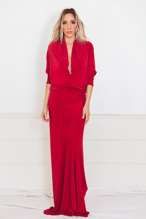 Elegant Stretch Maxi Dress - Red