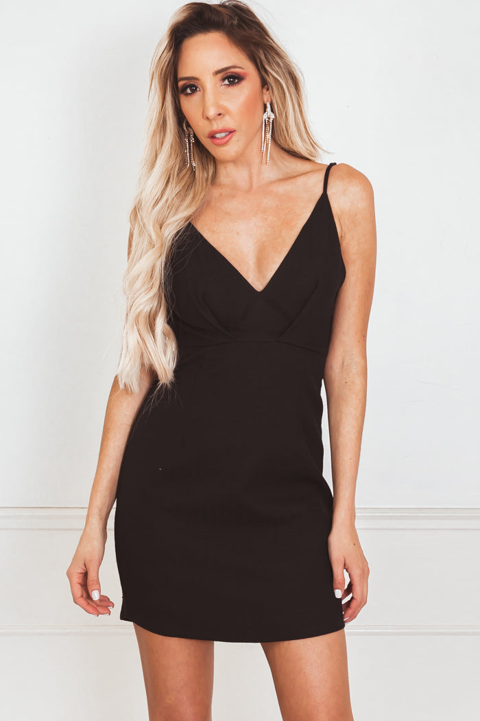Mini Dress with Ruffle Detailing Open Back - Black