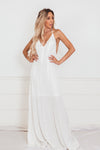 Sophisticated Sleeveless Maxi Dress - White