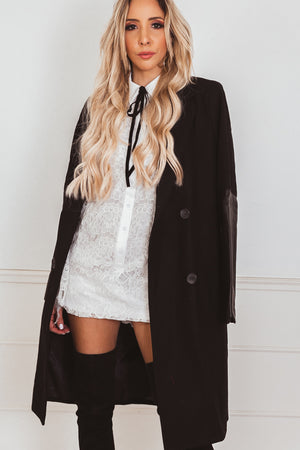 Wool Coat with Leather Sleeve