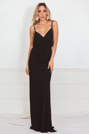 Elegant Maxi Dress with Embellished Straps - Black
