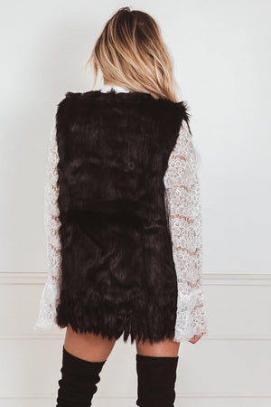 Plush Faux Fur Vest - Black