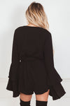 Deep-V Bell-Sleeve Romper - Black