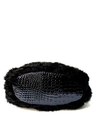 BLACK FAUX FUR BAG - Haute & Rebellious