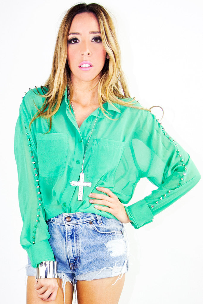 SPIPKED CHIFFON BLOUSE - Electric Emerald