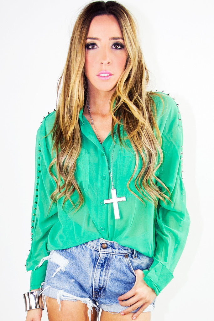 SPIPKED CHIFFON BLOUSE - Electric Emerald - Haute & Rebellious