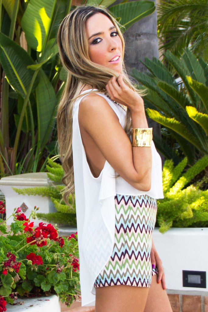 HIGH-LOW CHIFFON BLOUSE - White