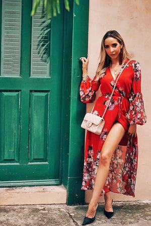 Unforgettable Floral Wrap Midi Dress