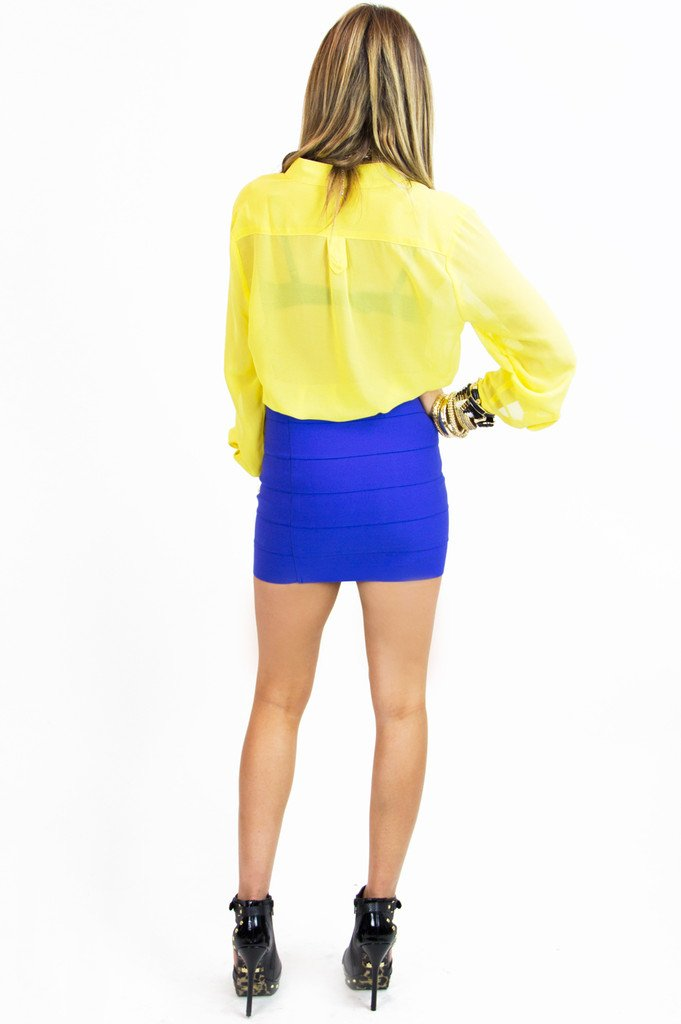 BANDAGE MINI SKIRT - Royal Blue