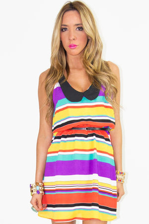 MULTI-COLOR MANDARIN NECK DRESS - Haute & Rebellious