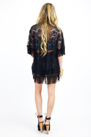 FRINGE LACE CARDIGAN - Black - Haute & Rebellious
