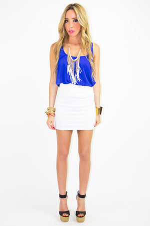 WHITE BANDED SKIRT - Haute & Rebellious