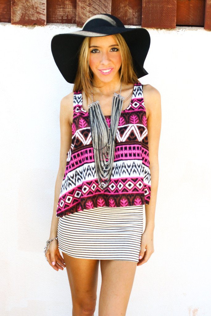 FUCHSIA TRIBAL CROPPED TOP - Haute & Rebellious