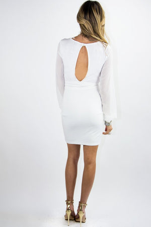 DRESS WITH CHIFFON LONG SLEEVES - White - Haute & Rebellious