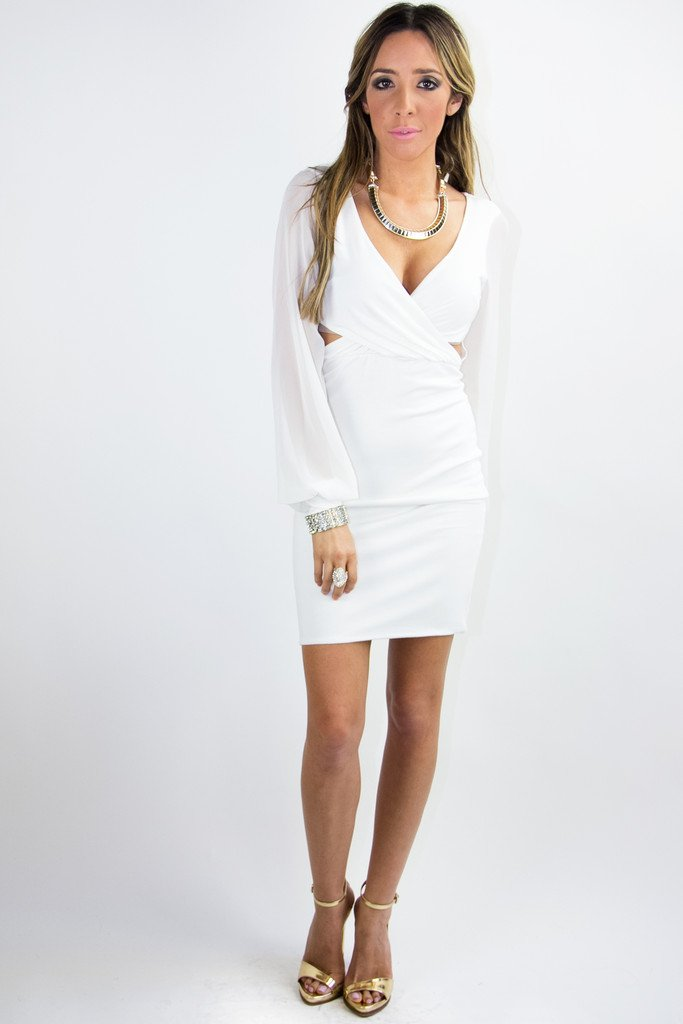 DRESS WITH CHIFFON LONG SLEEVES - White