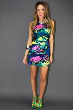 MULTI-COLORED CUTOUT BACK MINI DRESS - Haute & Rebellious