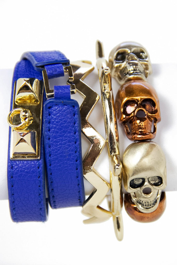 LEATHER BRACELET - Electric Blue