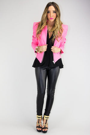 JANE NEON ZIP BLAZER - Pink (Final Sale) - Haute & Rebellious