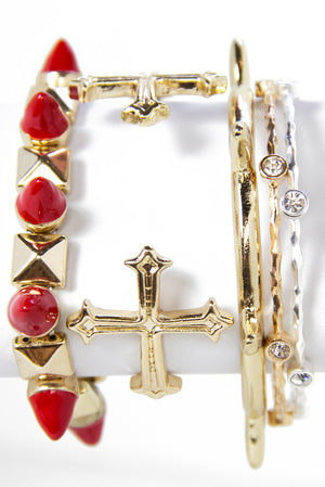 RED STUDDED BRACELET - Haute & Rebellious