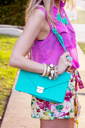 GOLD CHAIN BAG - Turquoise - Haute & Rebellious