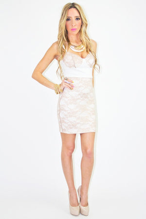 CONTRAST LACE DRESS - White/Beige (FINAL SALE) - Haute & Rebellious