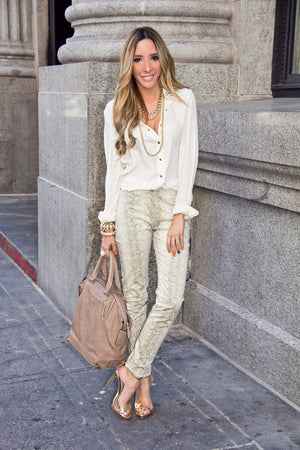 LONG SLEEVE BLOUSE WITH STUDDED NECK -  Beige - Haute & Rebellious