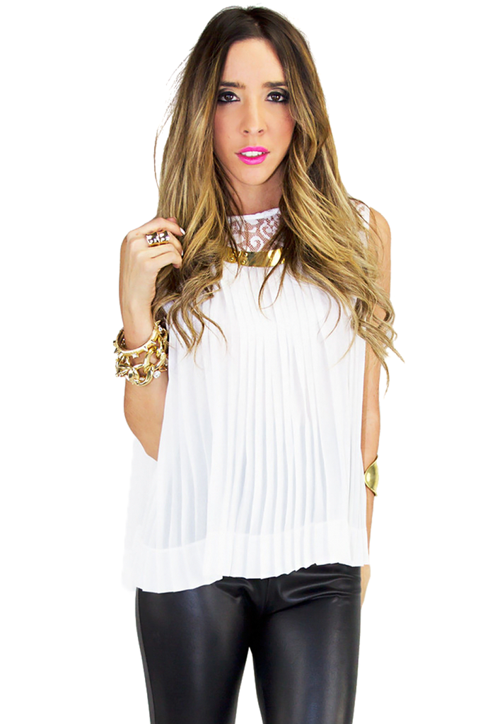 SLIT BACK LACE TOP - White