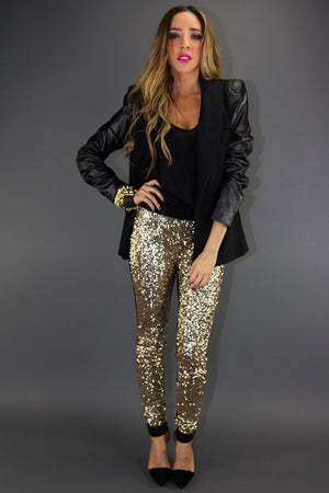 LEATHER CONTRAST SLEEVE BLAZER WITH SHOULDER PADS - Black - Haute & Rebellious