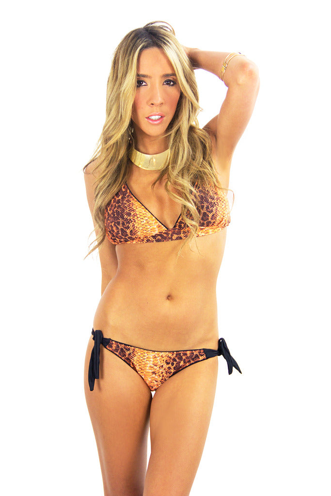 Snakeskin Print Bikini Top - Orange (Final Sale) - Haute & Rebellious