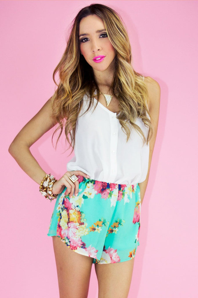 FLORAL SHORTS - Turquoise