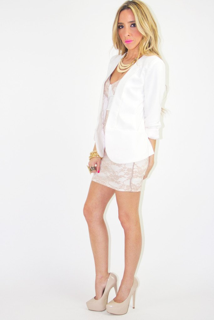 CONTRAST LACE DRESS - White/Beige (FINAL SALE)