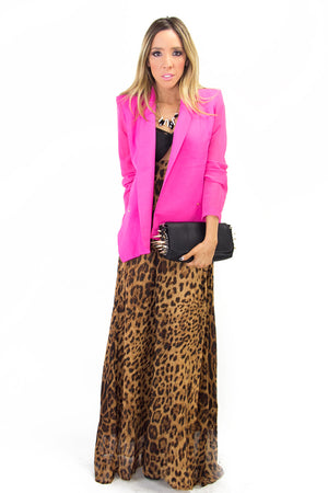 POINTY BLAZER WITH CHIFFON SLEEVES - Fuchsia - Haute & Rebellious