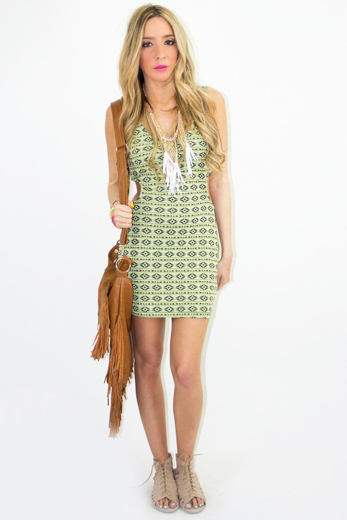 NEON TRIBAL CUTOUT DRESS (Final Sale)