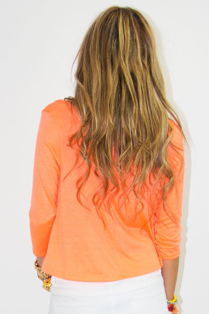 CROPPED TOP WITH LACE CONTRAST - Neon Orange