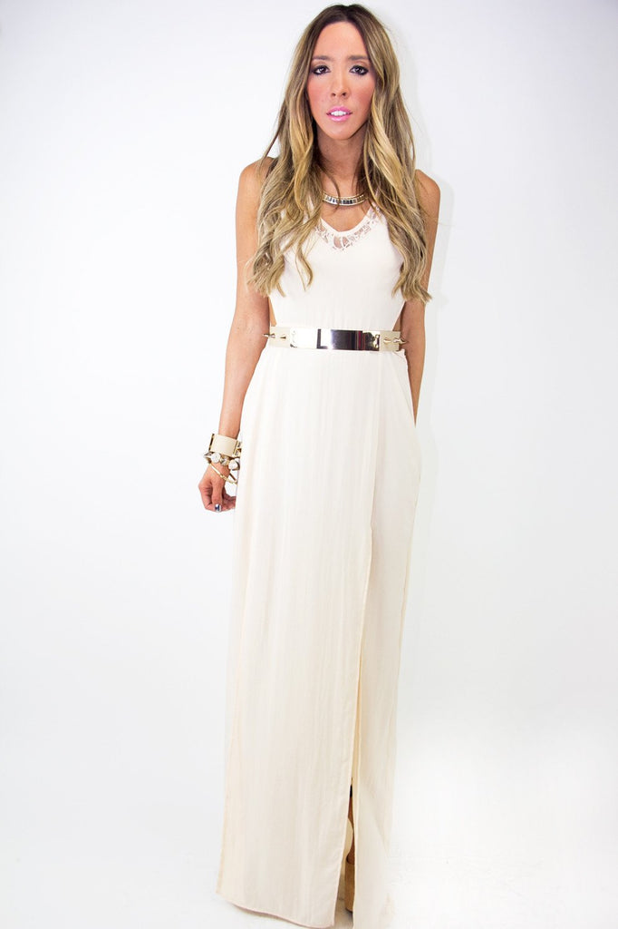DOUBLE SLIT DRESS WITH LACE AND CUTOUTS - Beige