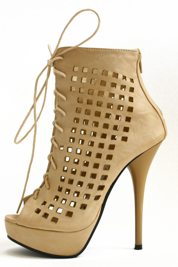 TAN PAYTON CUTOUT BOOTIES