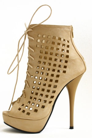 TAN PAYTON CUTOUT BOOTIES - Haute & Rebellious