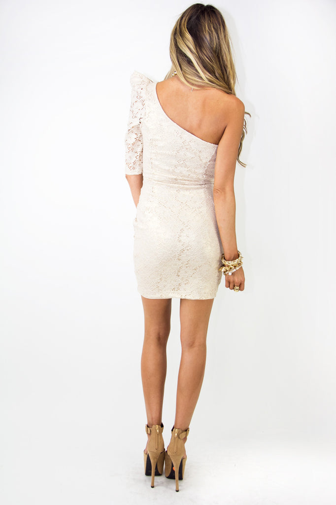 ONE SHOULDER METALLIC DRESS - Beige/Gold (Final Sale)