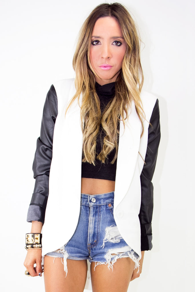 WHITE JACKET WITH BLACK LEATHER CONTRAST SLEEVES