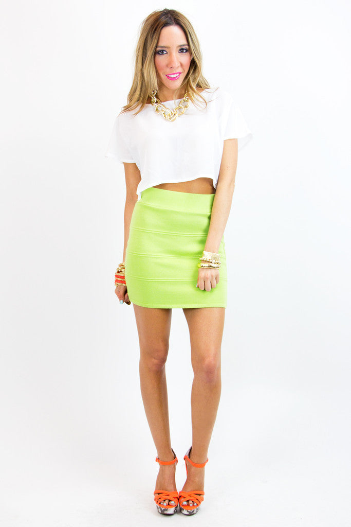 SILK CROPPED TOP - White