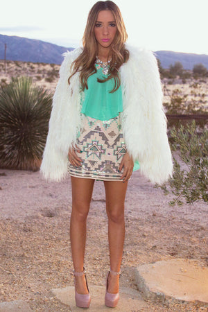 TRIBAL SEQUIN SKIRT - Beige - Haute & Rebellious