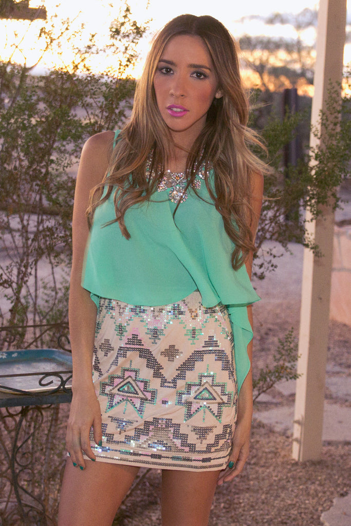 TRIBAL SEQUIN SKIRT - Beige