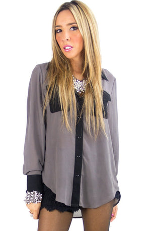 GRAY & BLACK CONTRAST CHIFFON BLOUSE - Haute & Rebellious