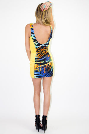 TROPICAL CONTRAST DRESS - Yellow (FINAL SALE) - Haute & Rebellious