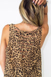 LEOPARD CHIFFON TOP WITH BACK CUTOUTS - Haute & Rebellious