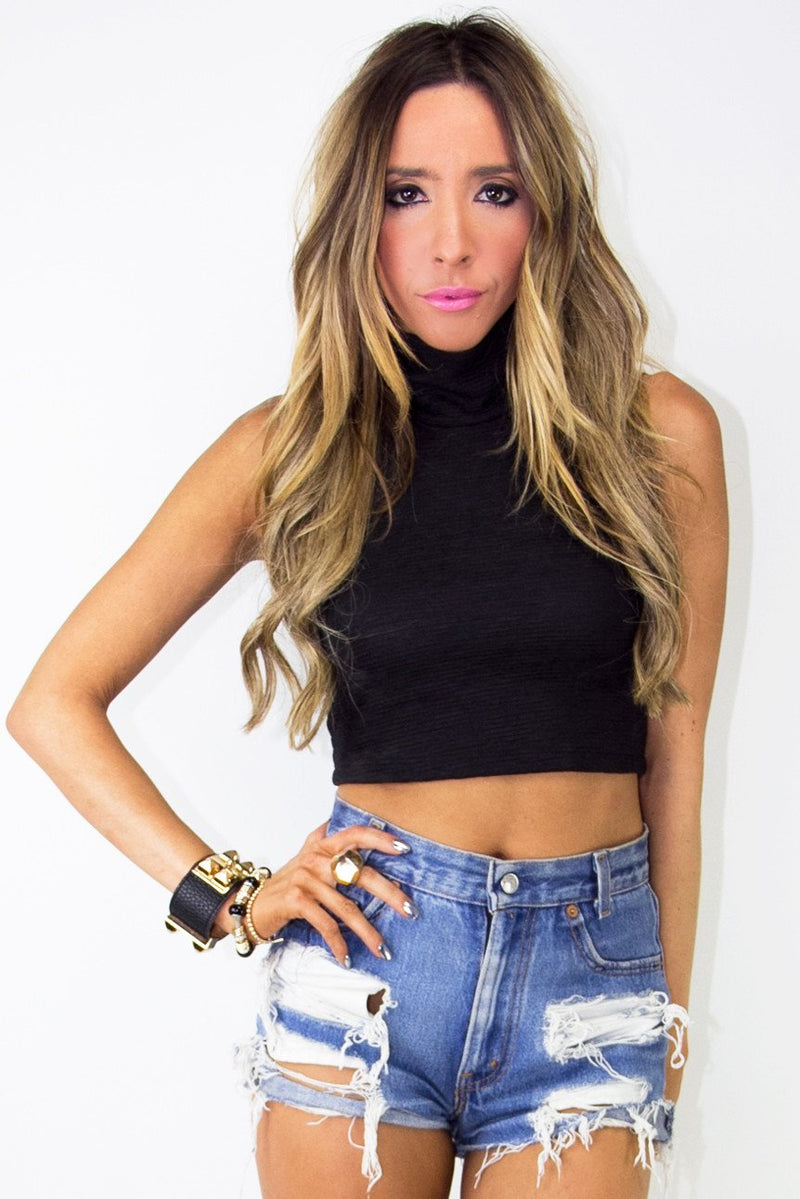 CROPPED TURTLE NECK TOP - Black - Haute & Rebellious