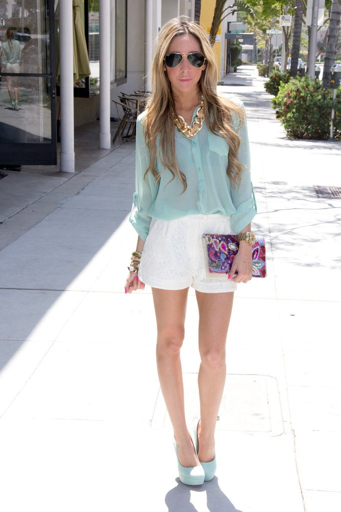 LACE SHORTS - White