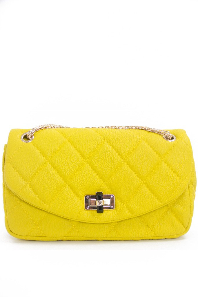 DOUBLE FLAP QUILTED BAG - Mustard - Haute & Rebellious