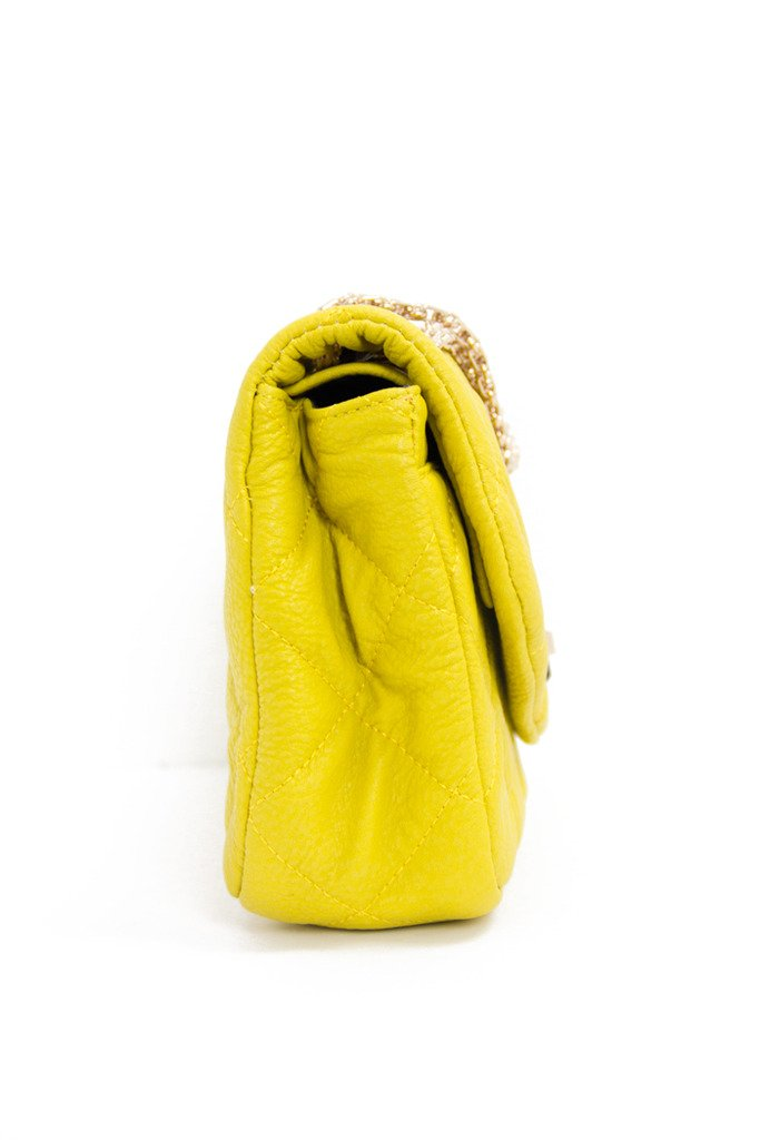 DOUBLE FLAP QUILTED BAG - Mustard