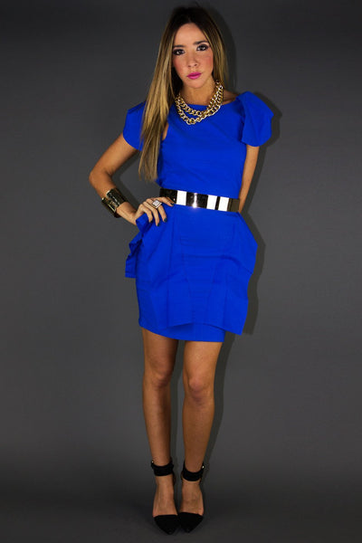 ADELLE ARCHITECTURAL DRESS - Royal Blue (Final Sale) - Haute & Rebellious